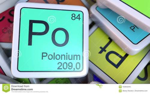 small resolution of polonium po block on the pile of periodic table of the chemical elements blocks 3d