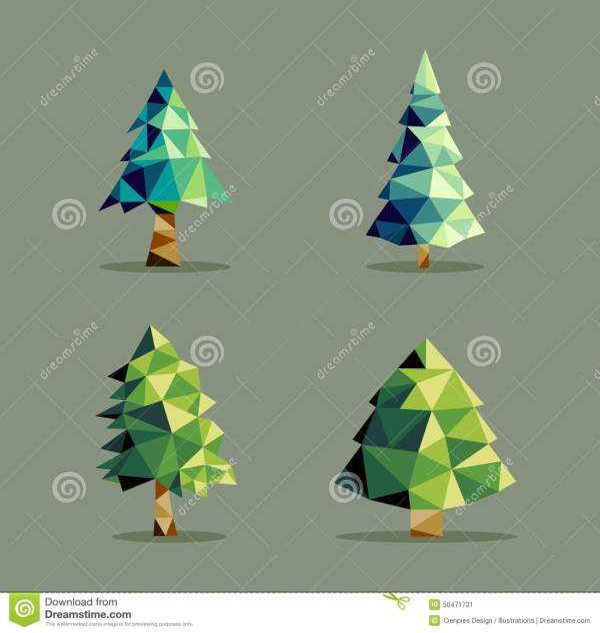 Polygonal Abstract Pine Tree Set Stock Vector