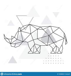 polygonal rhino on abstract background with triangles  [ 1600 x 1690 Pixel ]
