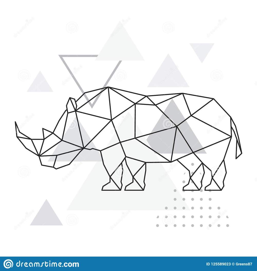 medium resolution of polygonal rhino on abstract background with triangles