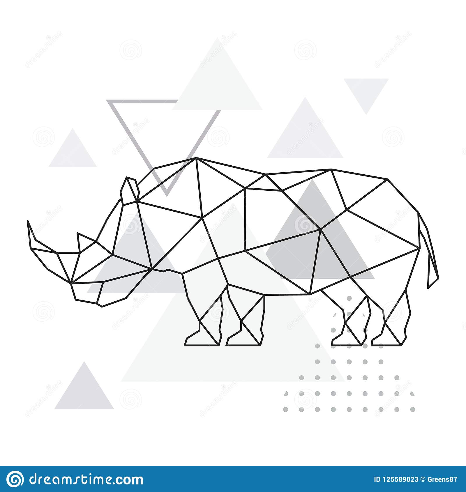 hight resolution of polygonal rhino on abstract background with triangles