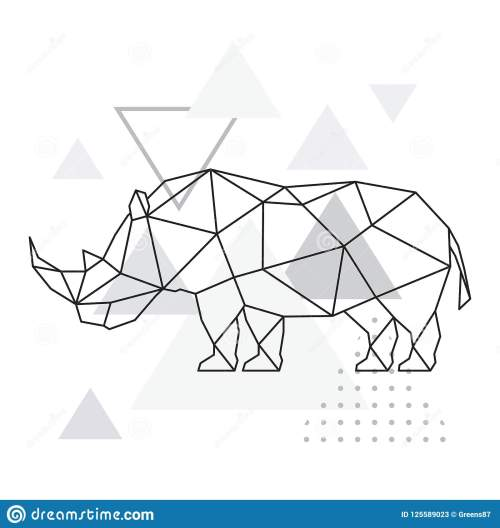 small resolution of polygonal rhino on abstract background with triangles