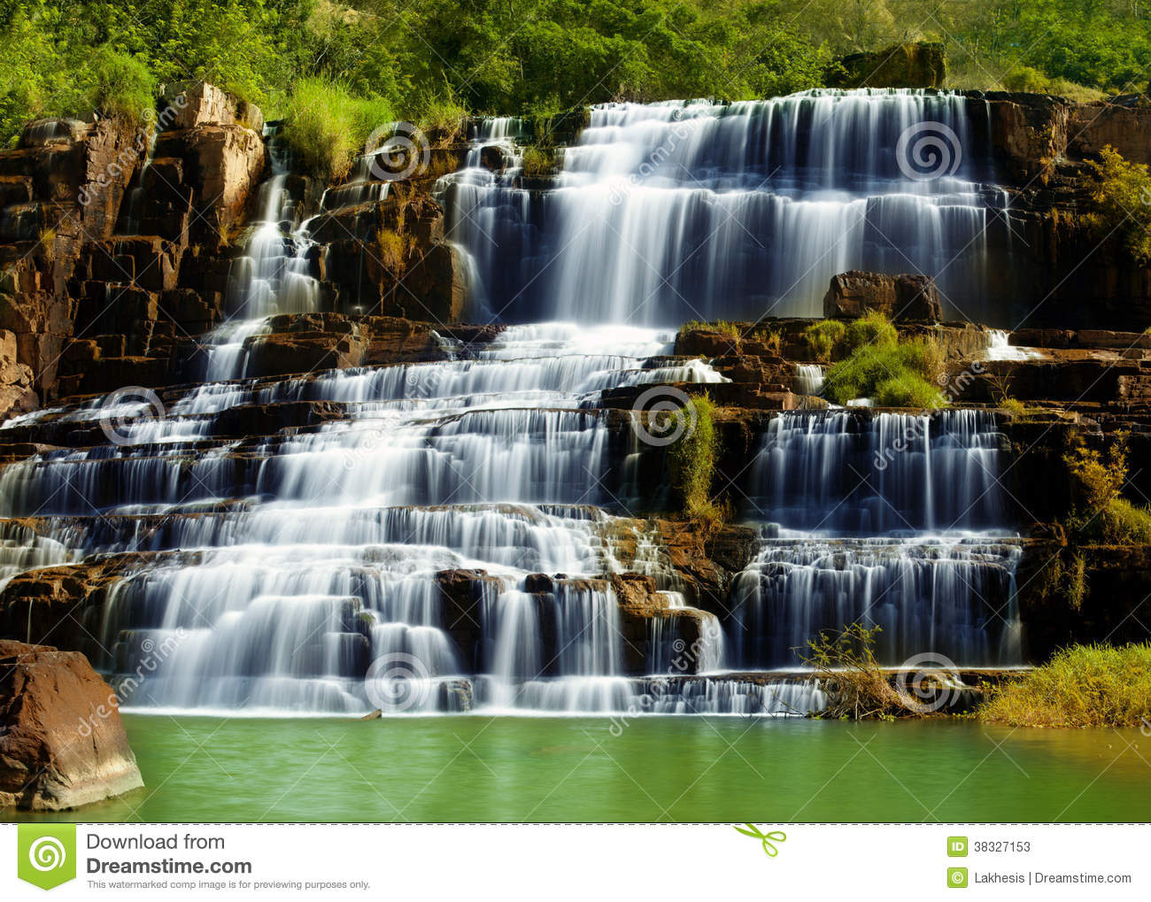 Fall Landscape Wallpapers Free Pongour Waterfall In Vietnam Stock Image Image Of Fall