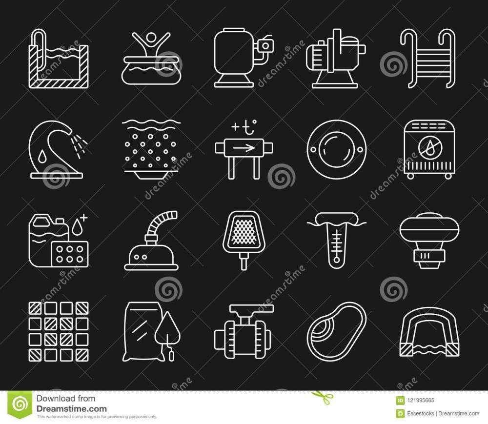 medium resolution of swimming pool equipment thin line icons set outline monochrome sign kit of construction repair linear icon collection includes tile mosaic waterproofing