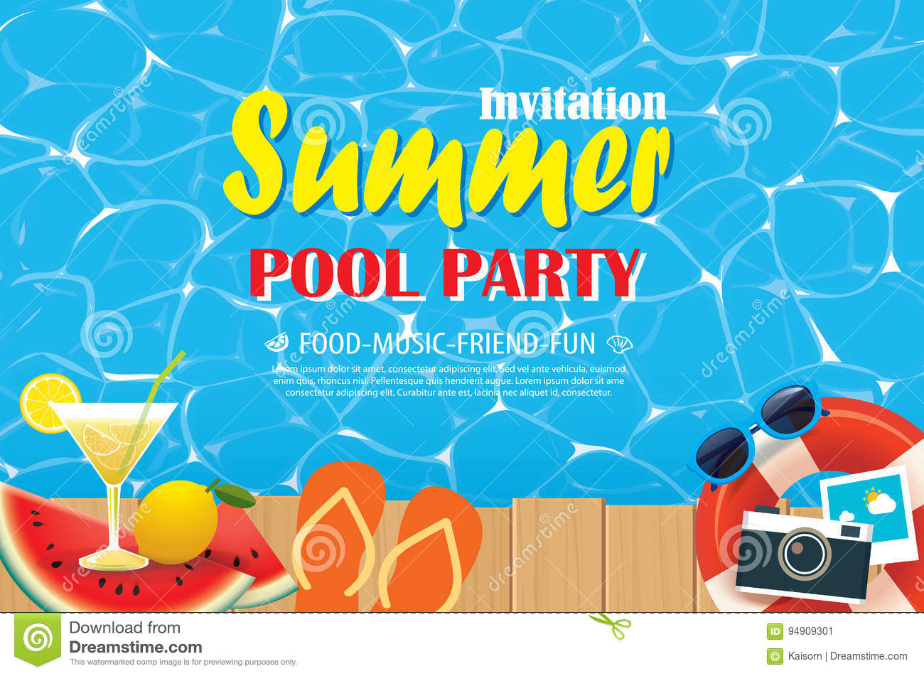 Pool Party Invitation Poster With Blue Water And Wooden. Vector