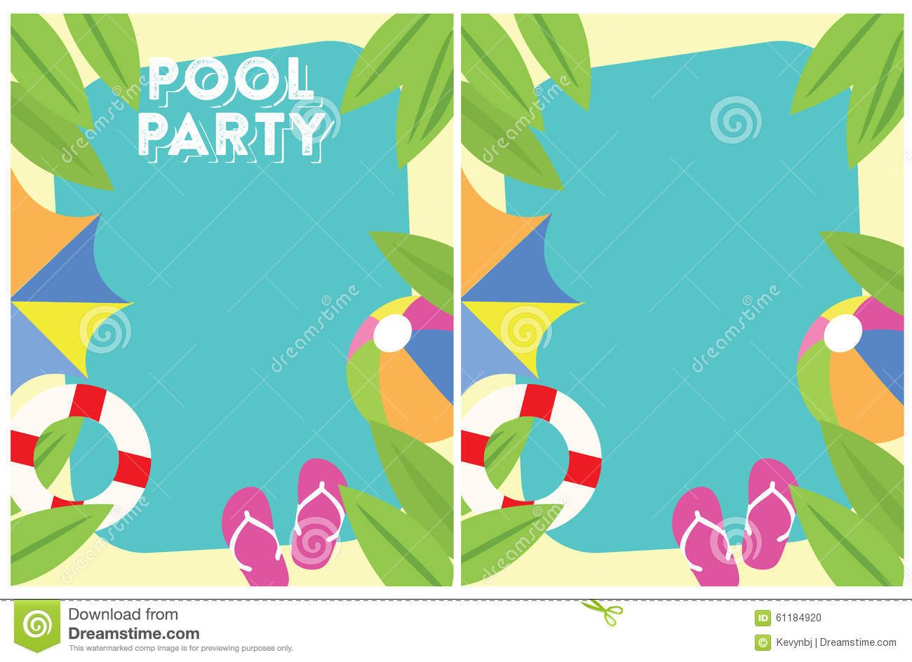 Download Pool Party Summer Party Invitation Stock Illustration -  Illustration Of July, Flyer: 61184920
