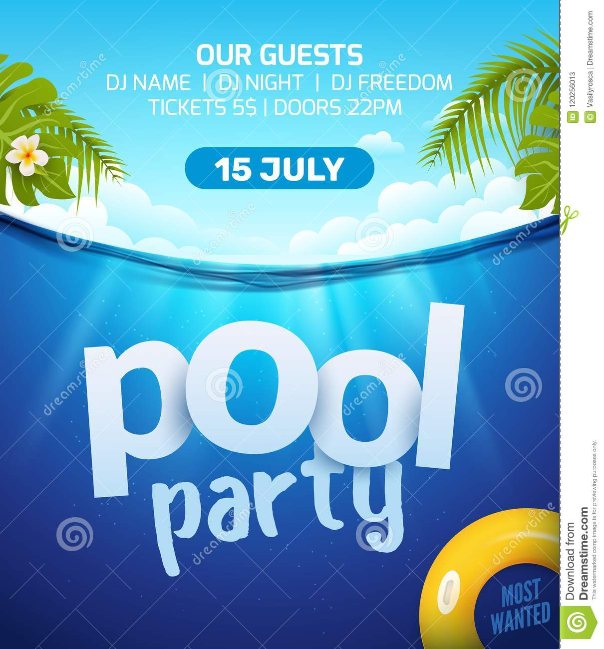 Pool Summer Party Invitation Banner Flyer Design. Water And Palm Inflatable  Yellow Mattress. Pool