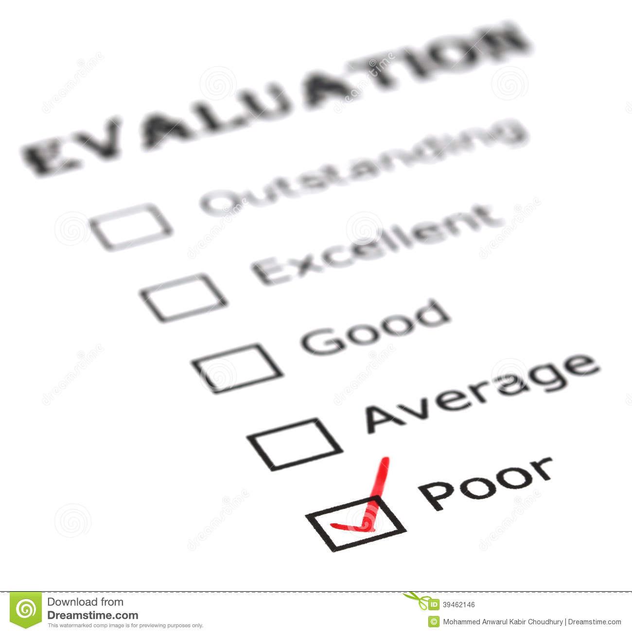 Poor evaluation stock photo. Image of performance, check