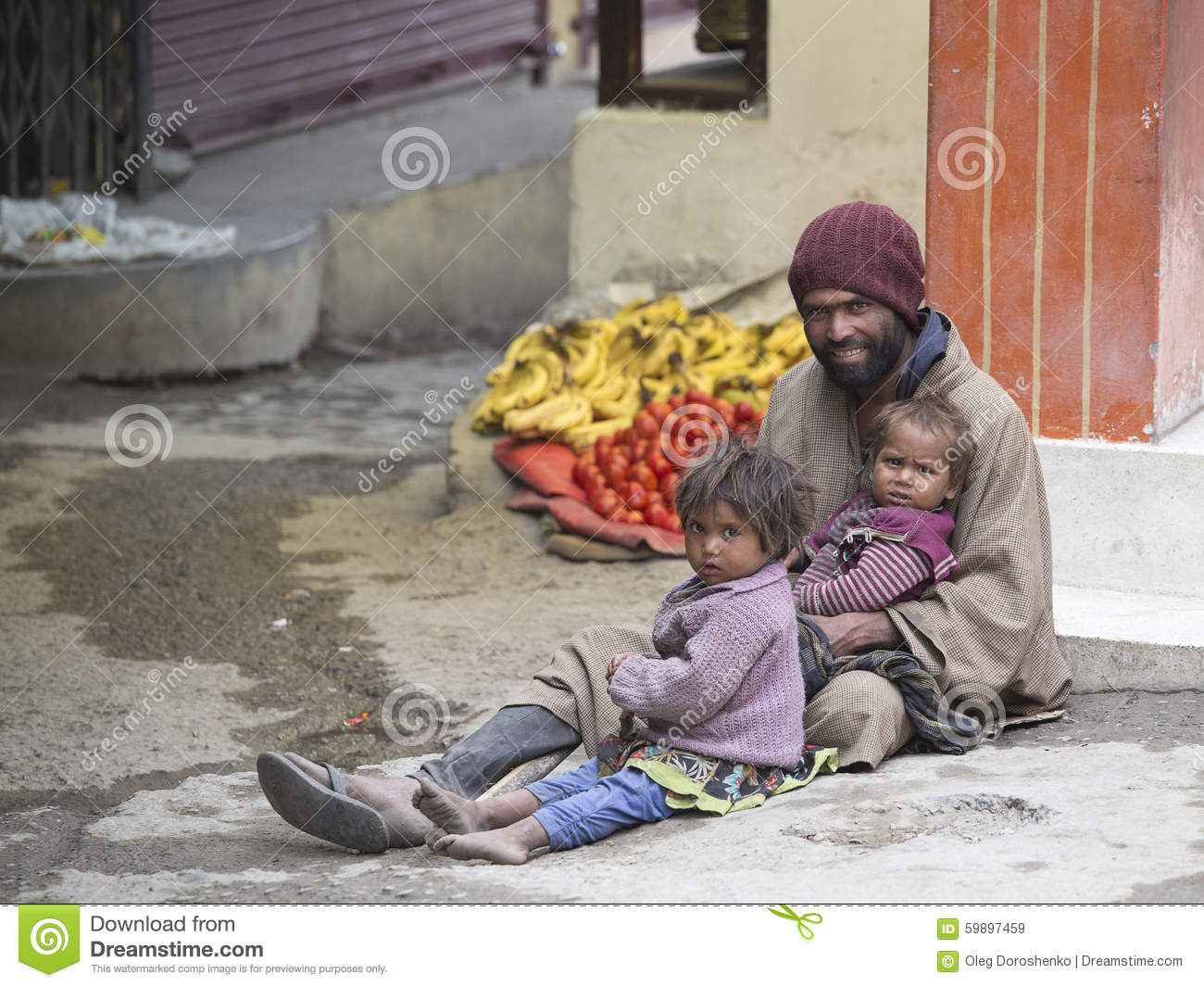 Poor Family Of Beggars On The Streets In India Editorial