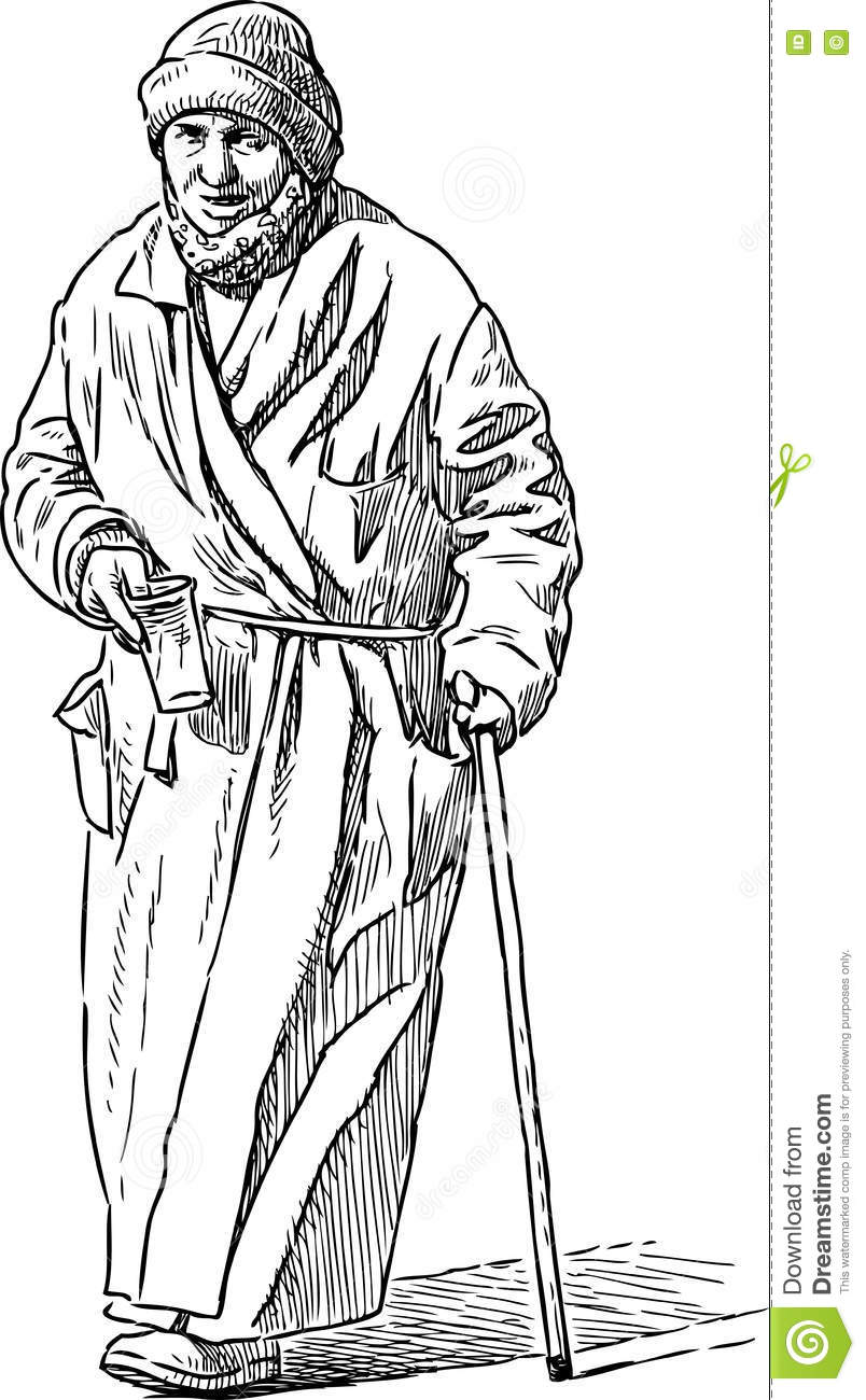 Poor old woman begging stock vector. Illustration of