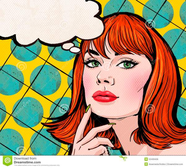 Pop Art Illustration Of Girl With Speech Bubble.pop
