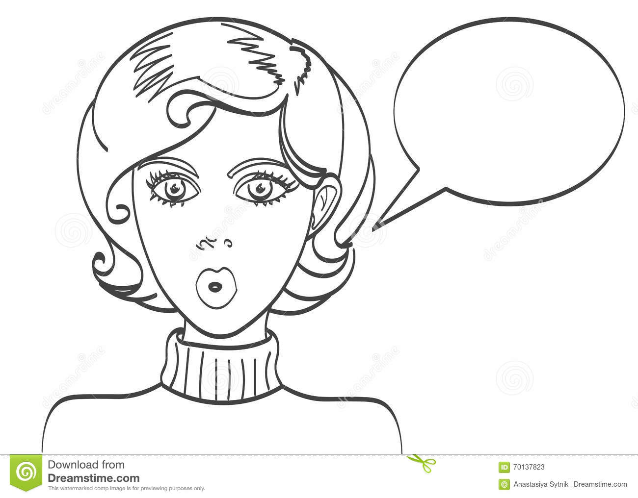 Beauty Woman Face With Speech Bubble Vector Illustration