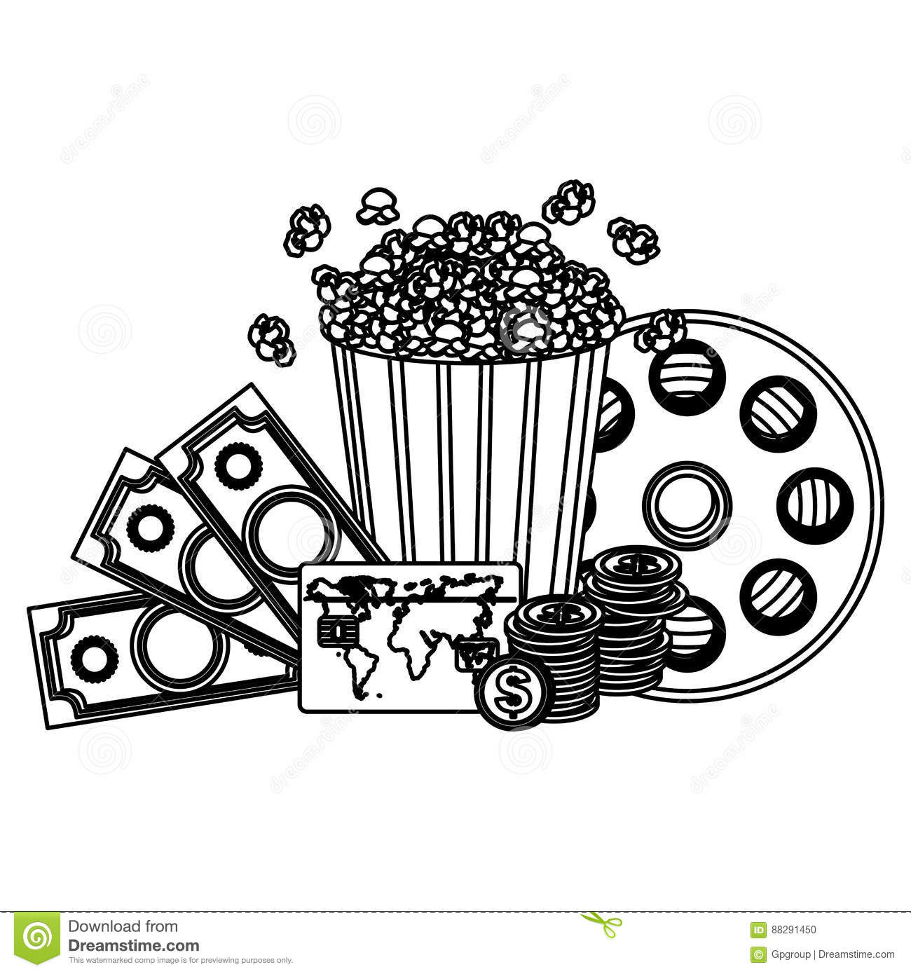 Pop Corn Clipart Movie And Money Icon Royalty Free Stock