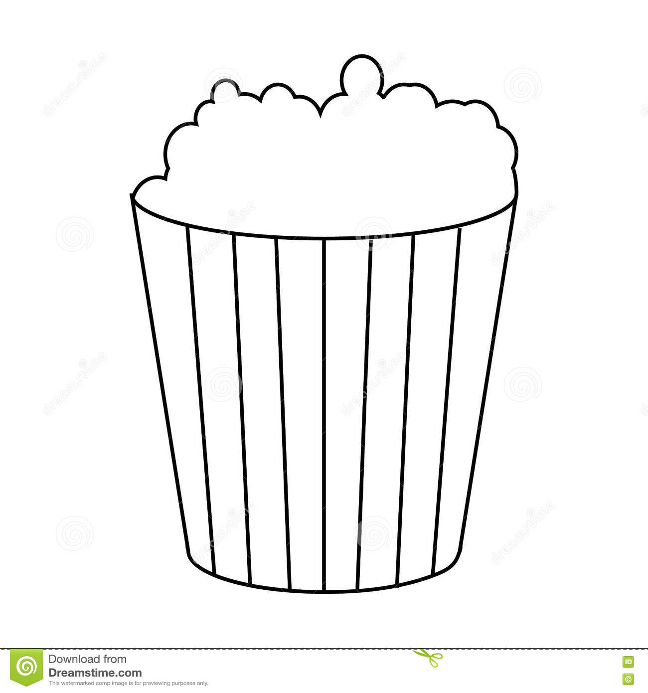 Popcorn Icon Outline Style Vector Illustration