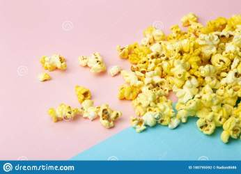 Popcorn On A Colored Background Minimal Food Concept Entertainment Film And Video Content Aesthetics 80s And 90s Concept Stock Photo Image of party couple: 180795592