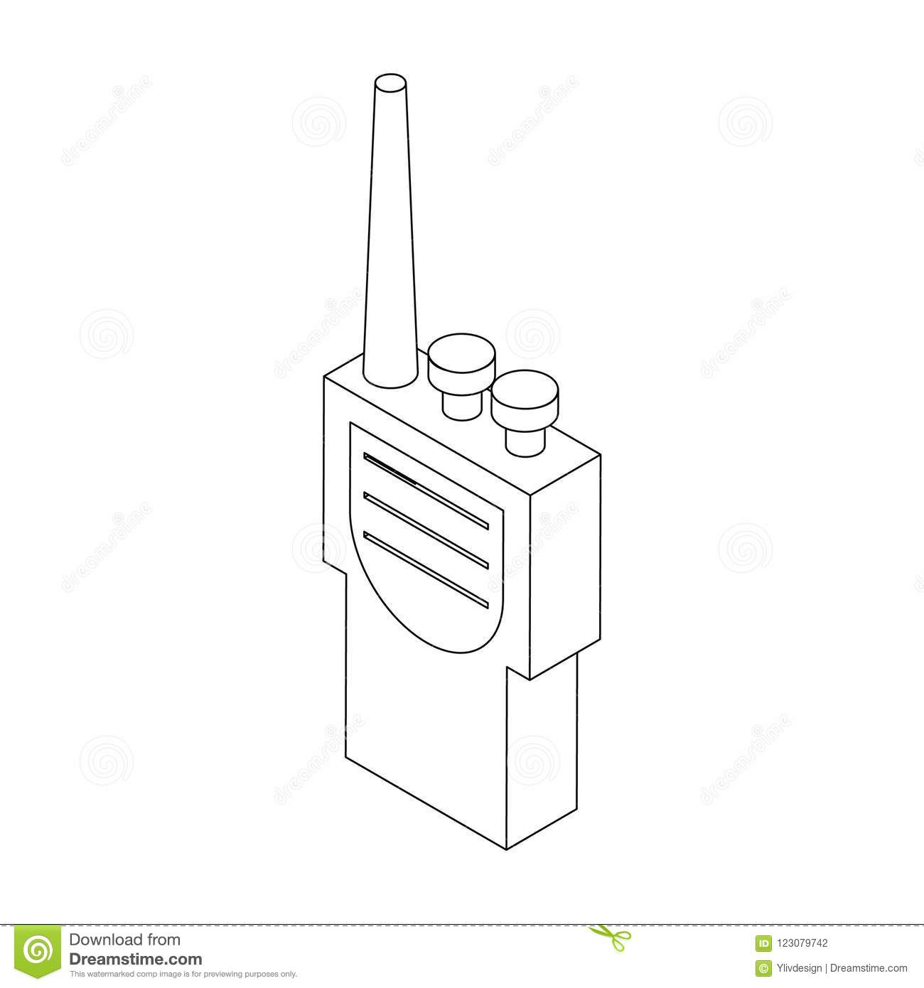 hight resolution of portable handheld radio icon in isometric 3d style