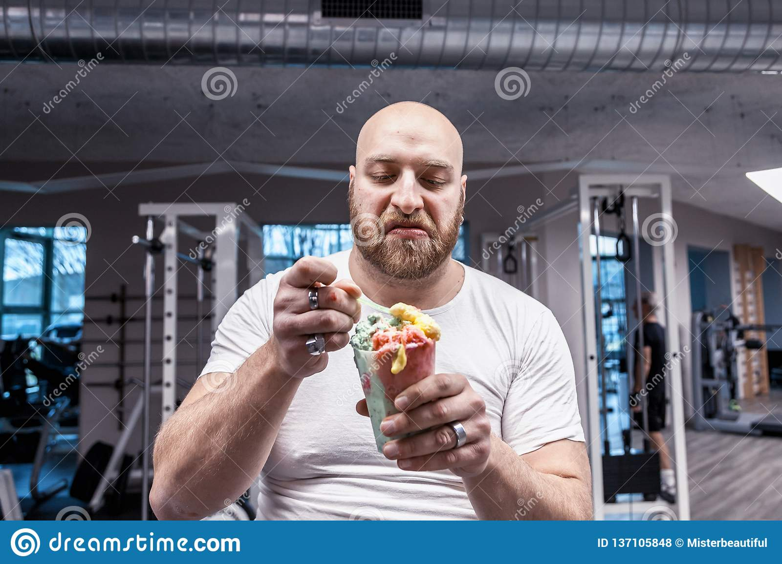Portrait Of Athlete While Eating An Ice Cream On Break ...
