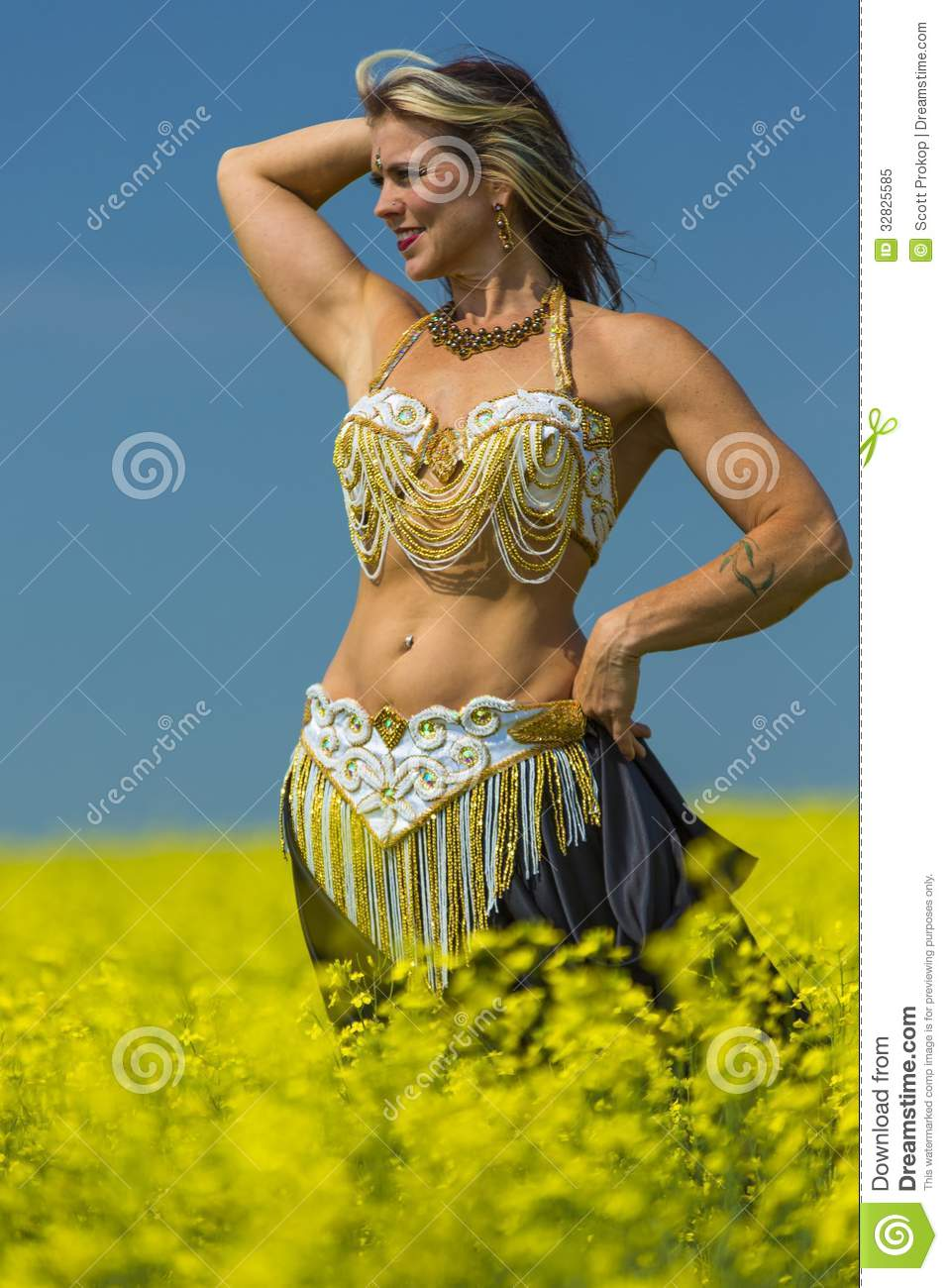 Portrait Of A Beautiful Belly Dancer Royalty Free Stock