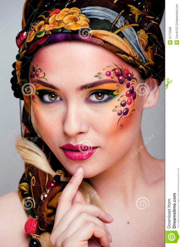 Portrait Of Beauty Woman With Face Art Stock - Berry 31775088