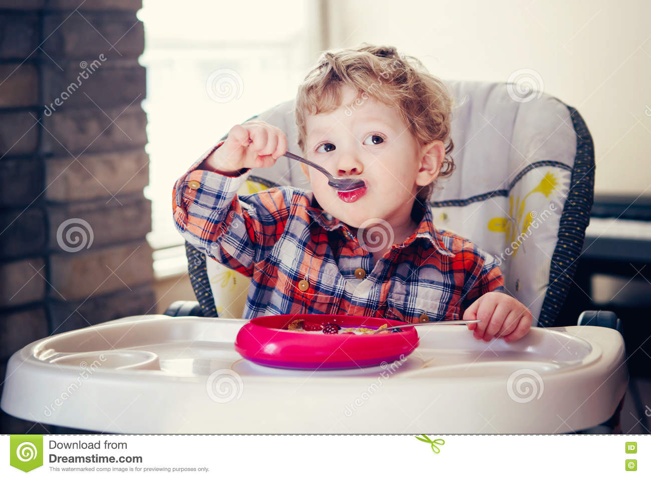 Boy High Chairs Portrait Of Cute Adorable Caucasian Child Kid Boy Standing