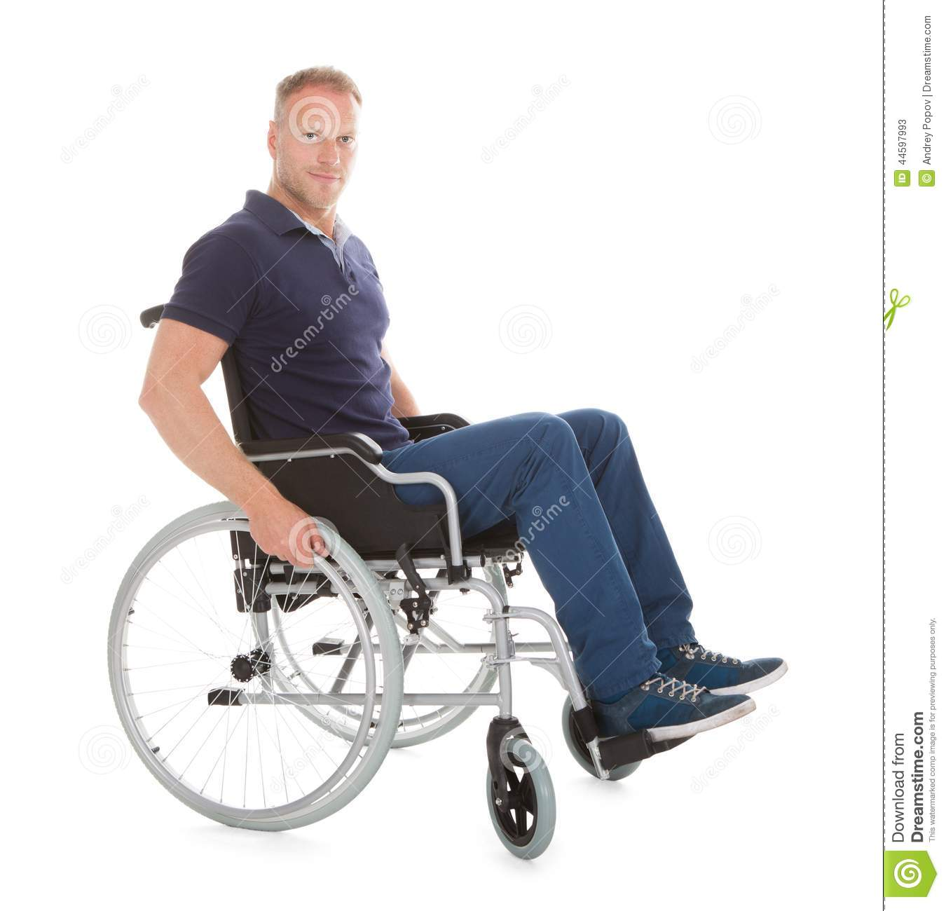wheelchair man posture right chair portrait of disabled on stock image cutout full length over white background