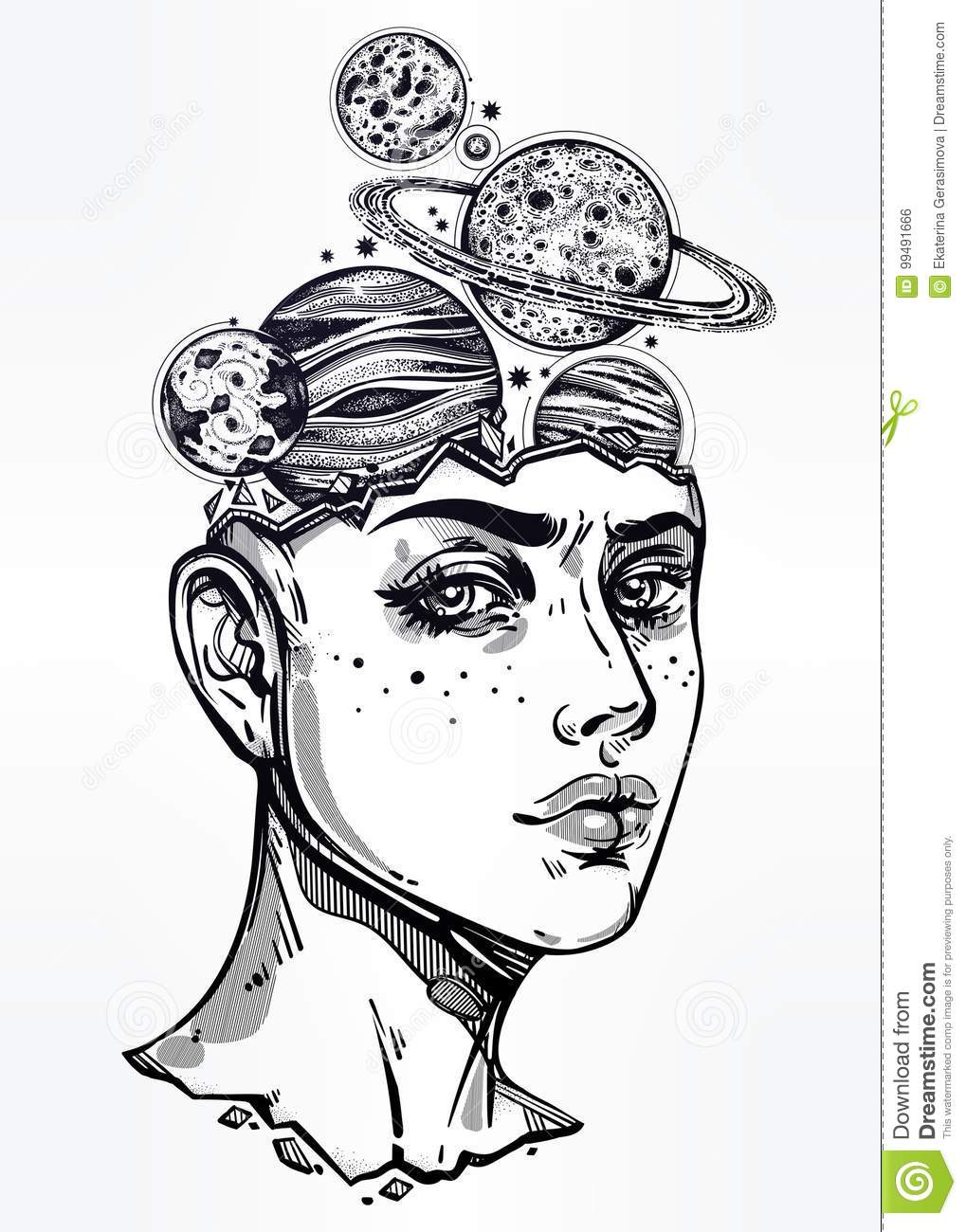 Portrait Of Girl With Head, Planets, Space Inside. Stock