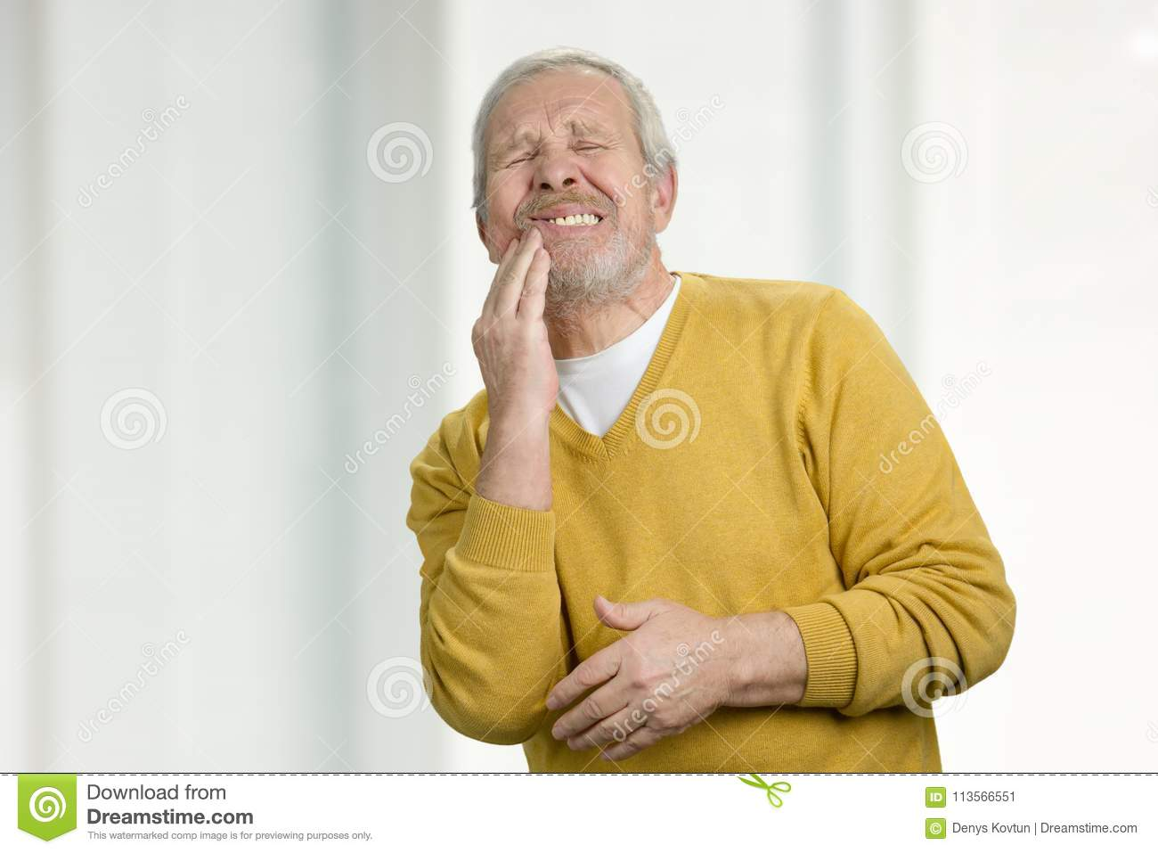 Portrait Of Grandpa With Tooth Disease Stock Image