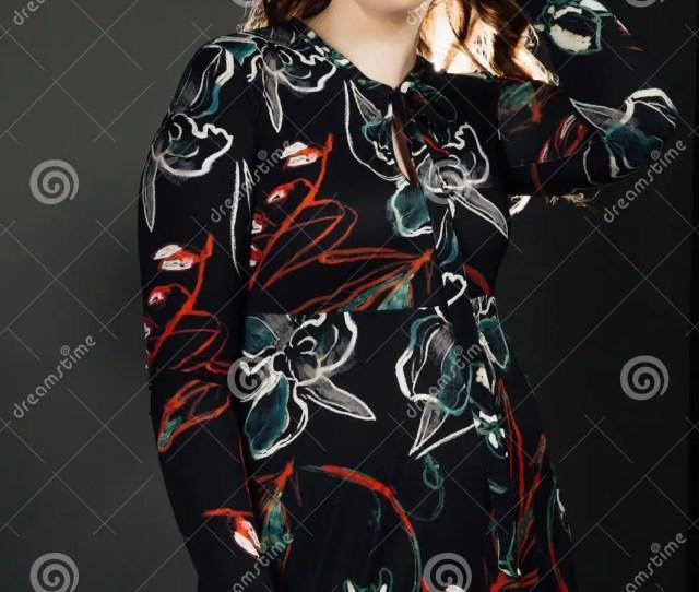 Portrait Plus Size Fashion Model Fat Woman On Gray Studio Background Overweight Female Body