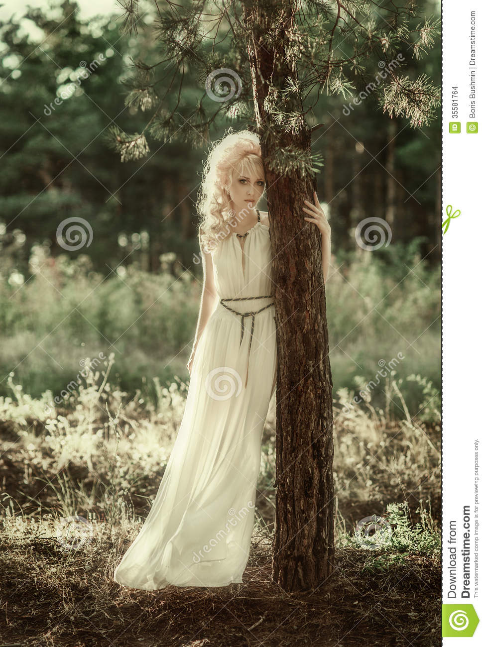 Portrait Woman In Forest Stock Images  Image 35581764