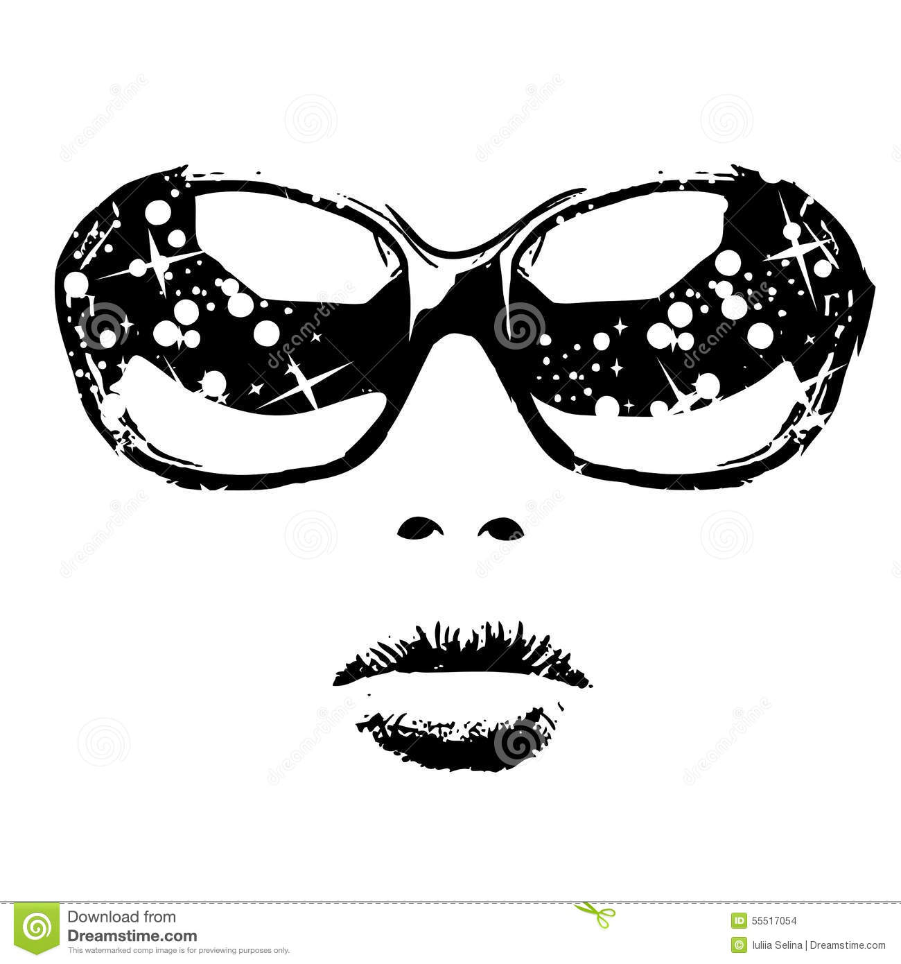 Portrait Of A Woman In Sunglasses Stock Vector