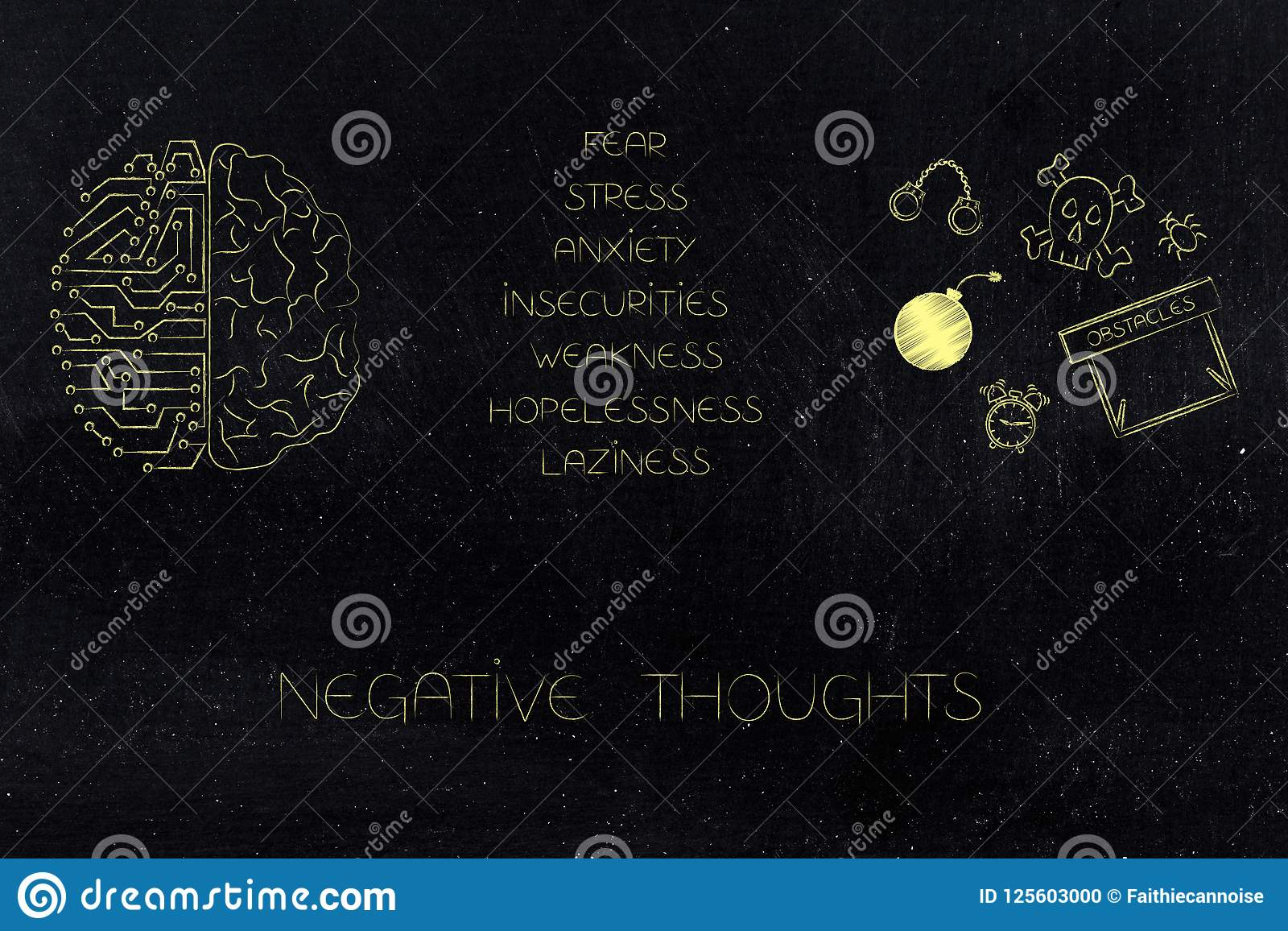 hight resolution of positive and negative attitude conceptual illustration circuit and human brain next to list of stressed attitudes and fear themed icons