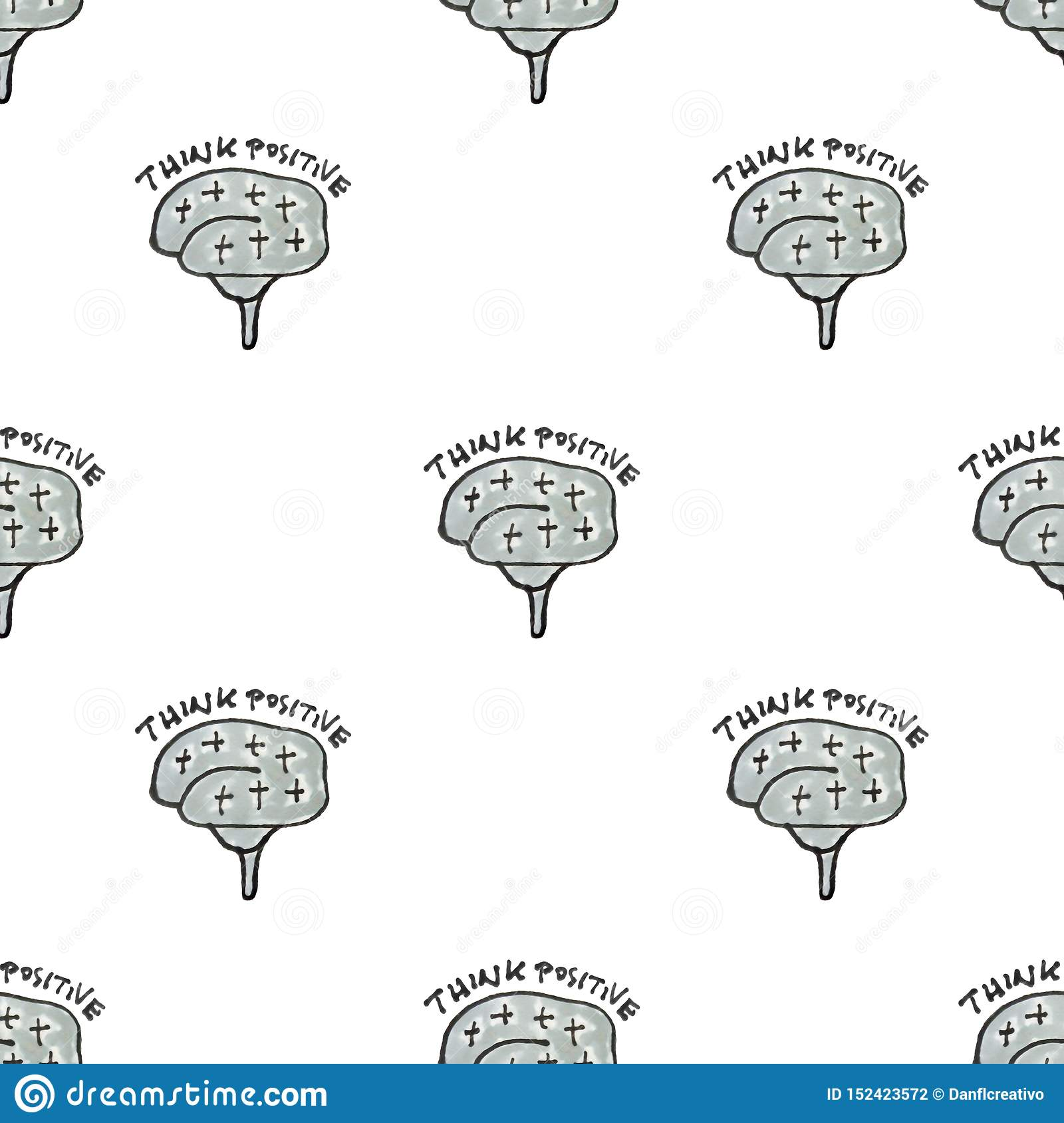 Positive Thinking Concept Seamless Pattern Drawing Stock