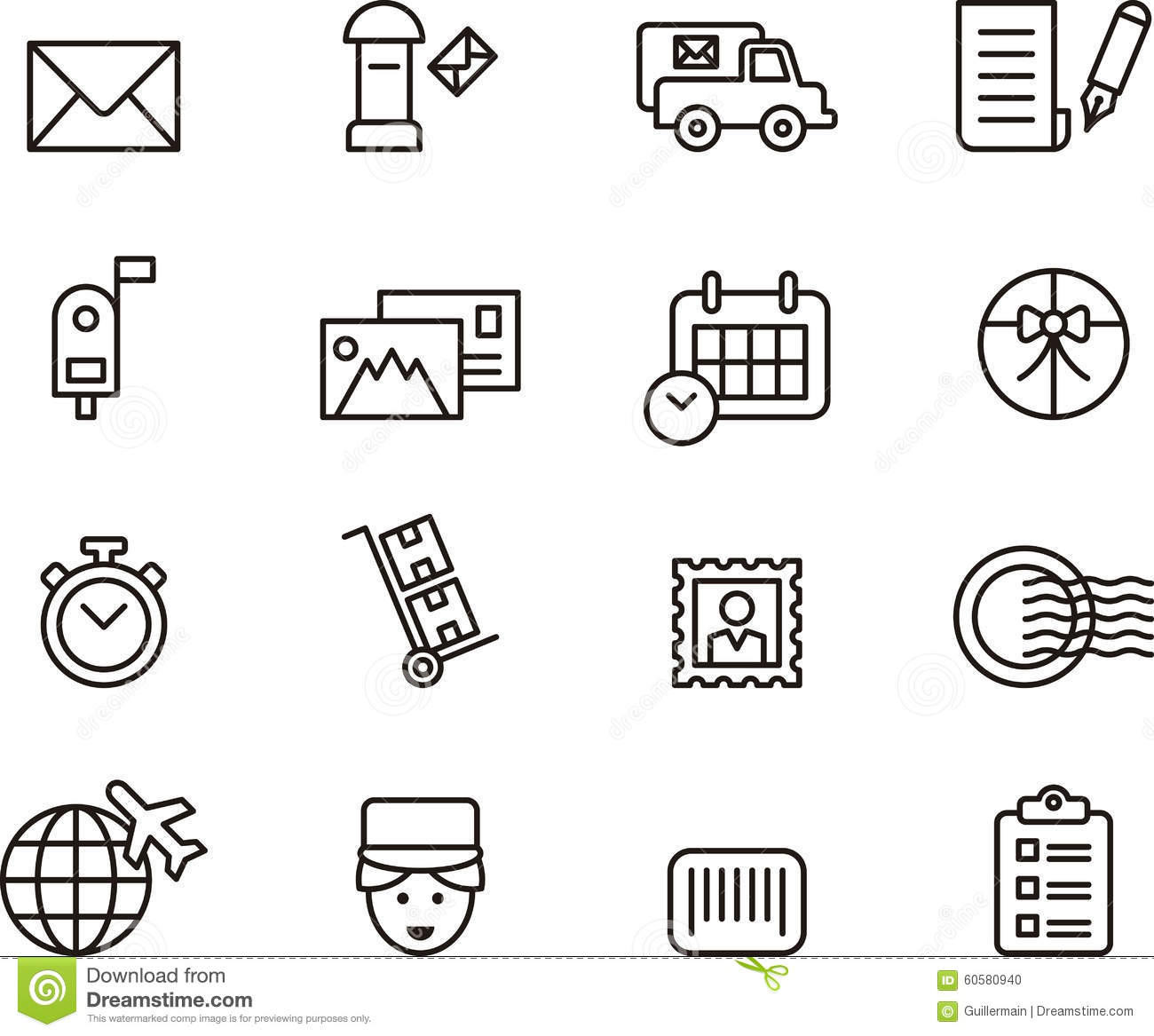 Post Service Icons Stock Vector Illustration Of Post