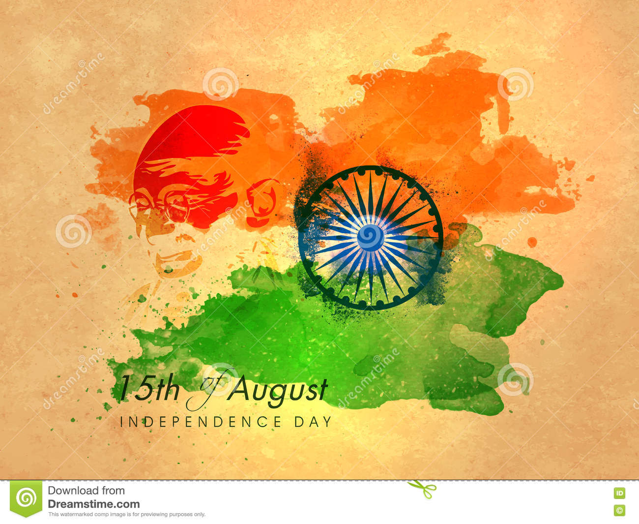 Poster Banner Flyer For Indian Independence Day Stock