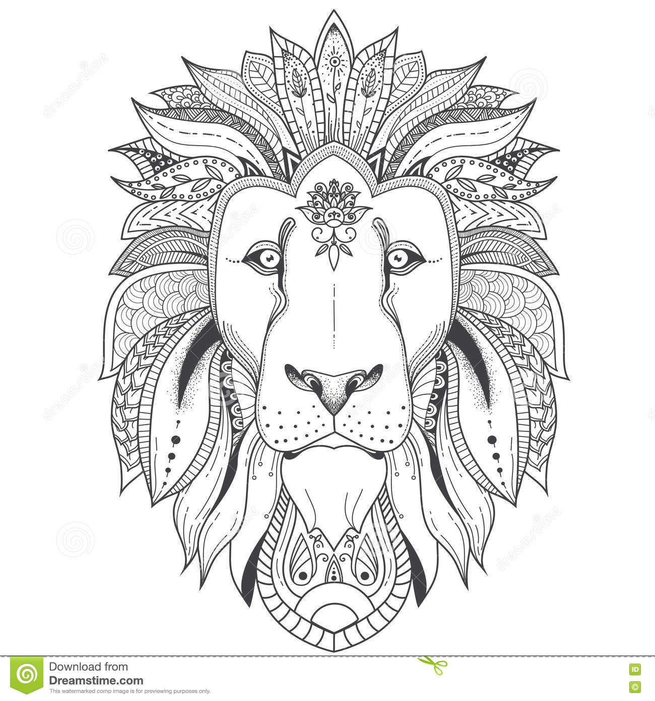 Lion Adult Coloring Page Already Colored
