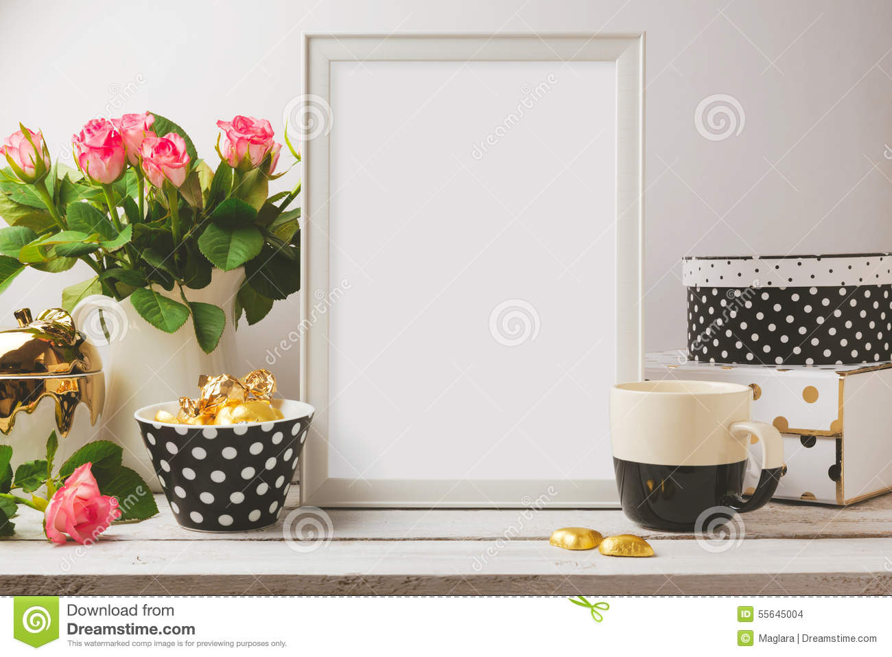 Poster Template Mock Up With Glamour And Elegant Feminine Objects Stock Photo Image 55645004
