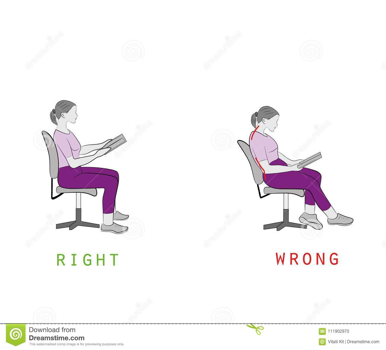 posture chair sitting biokinesis exercises for seniors dvd while reading a book on vector illustration