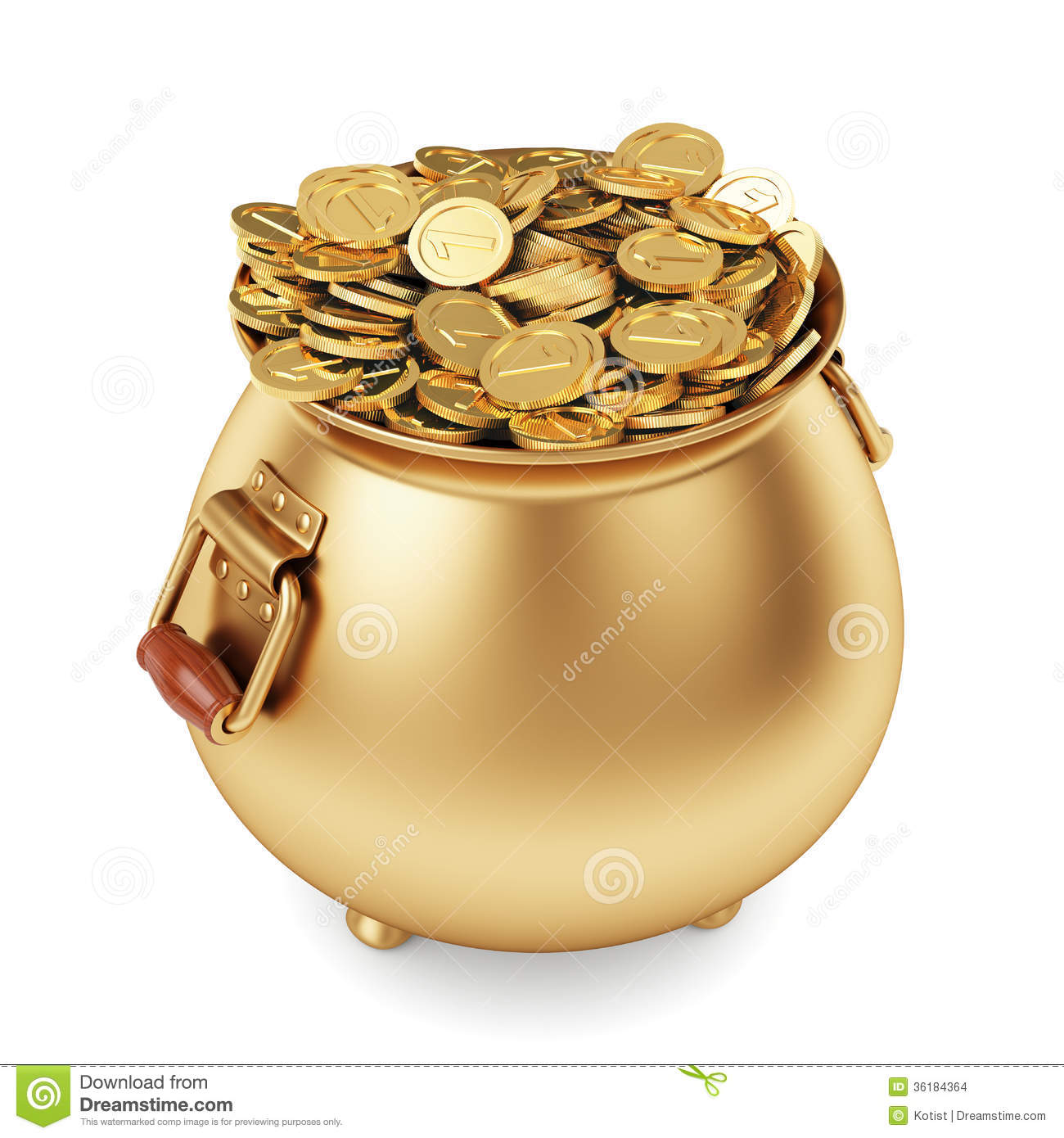 Pot of gold coins stock illustration Illustration of