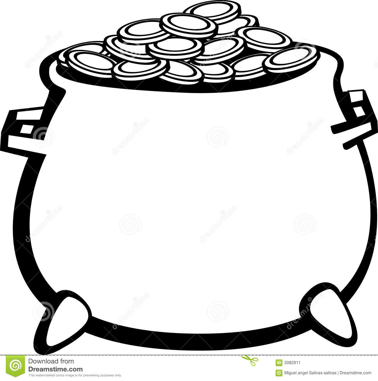 Pot With Gold Coins Vector Illustration Stock Vector