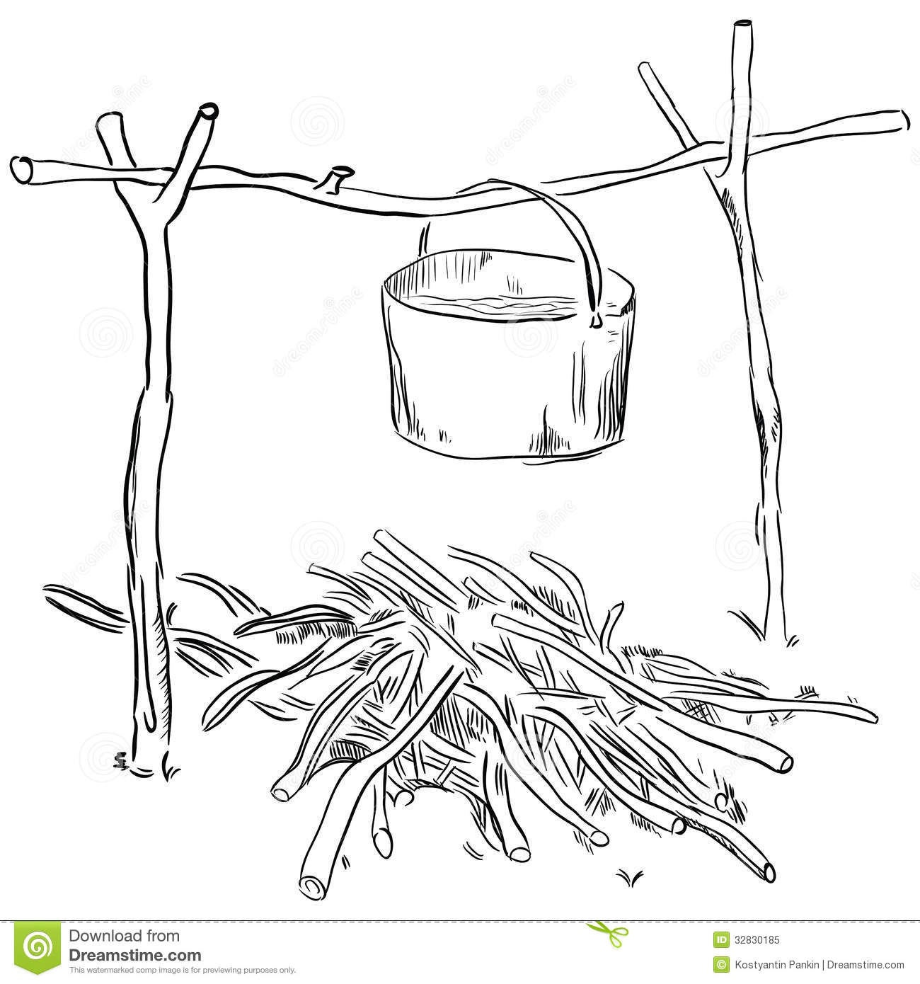 Pot Over The Fire Stock Vector Image Of Camping Thread