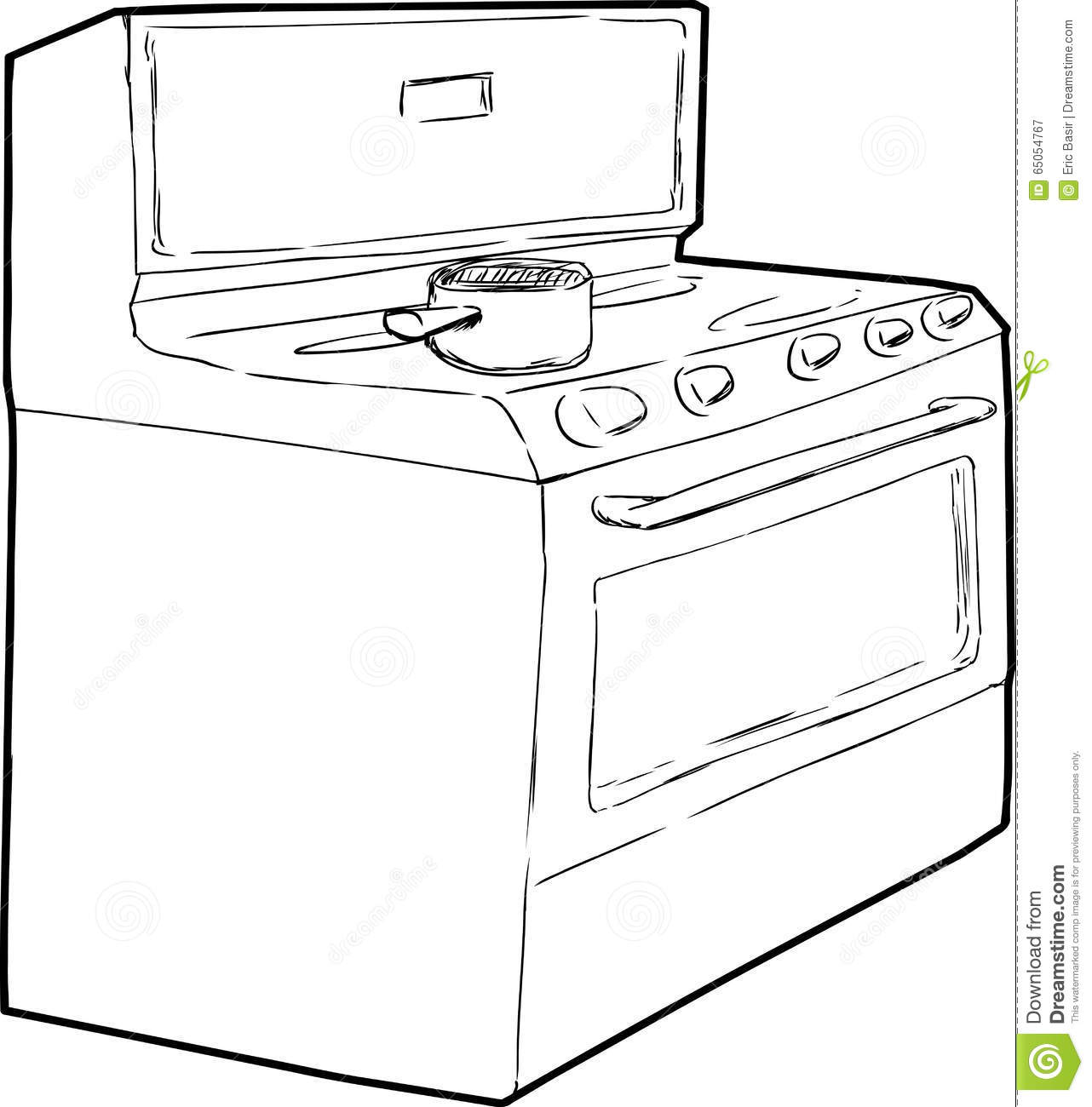 Pot On Top Of Stove Outline Stock Illustration