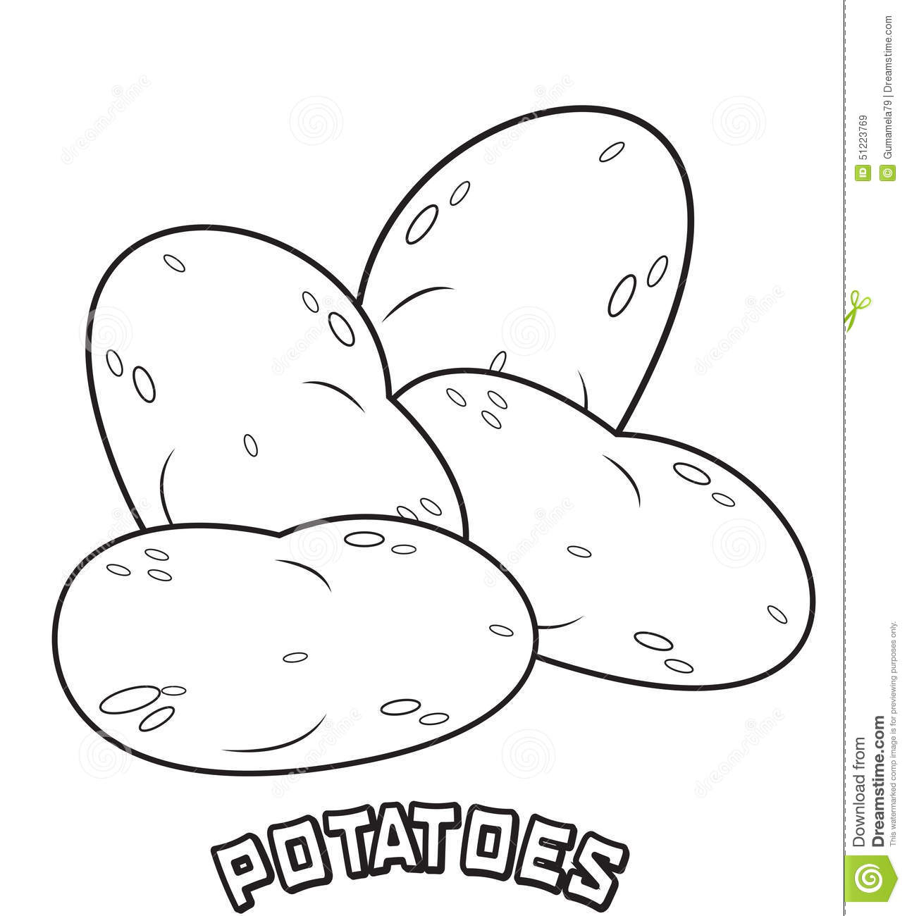 Potatoes coloring page stock illustration. Image of clip