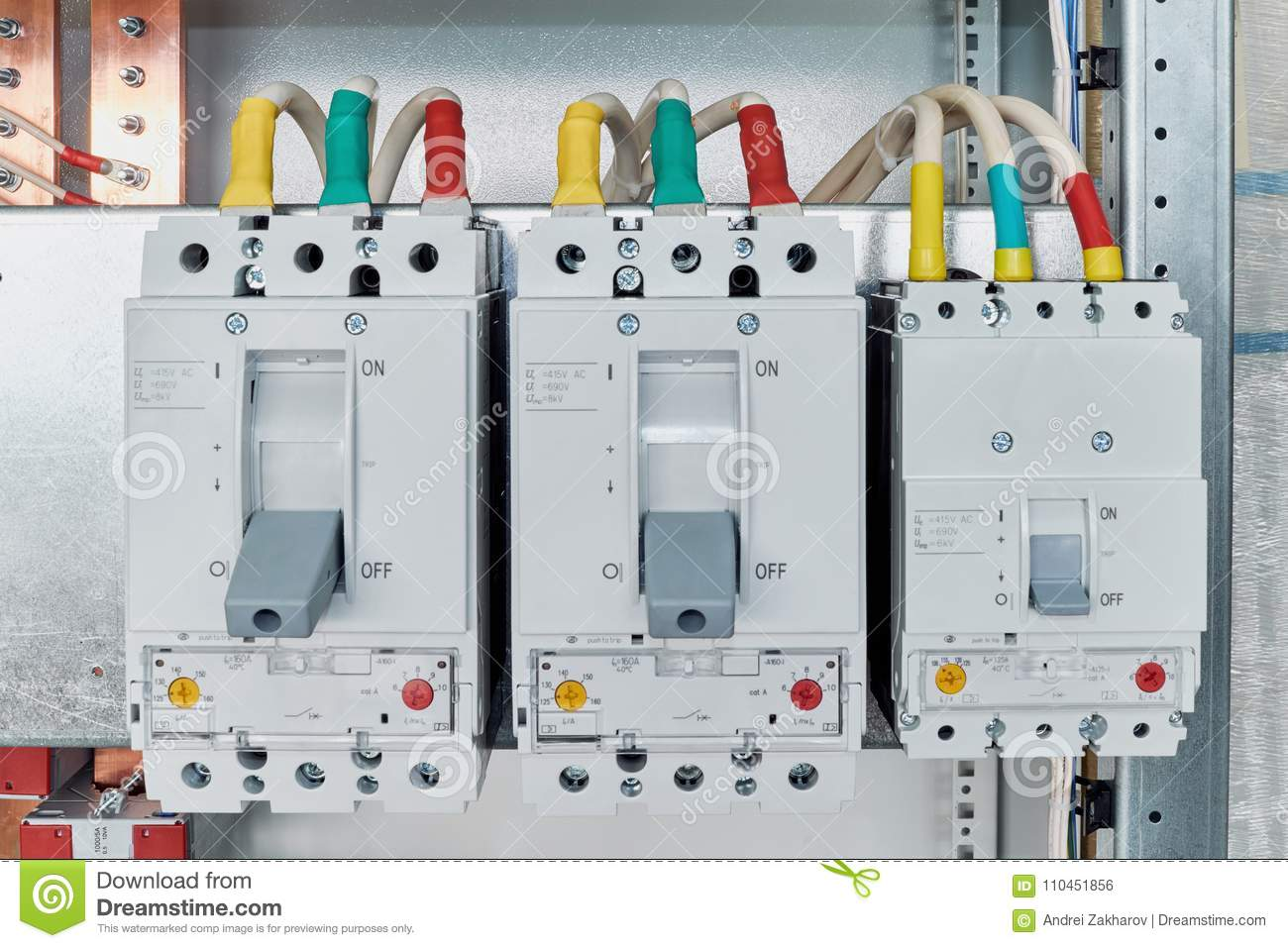 hight resolution of power circuit breakers are arranged in a row in an electric cabinet