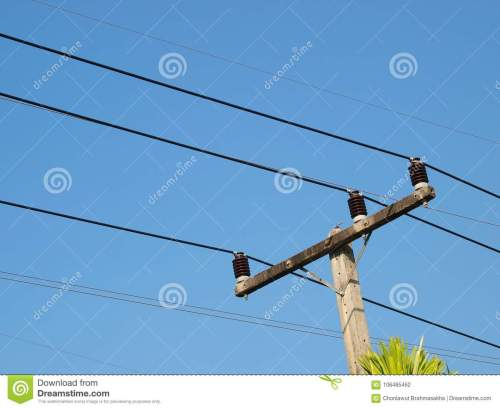 small resolution of three phase power electricity lines installed on top of concrete pole with ceramic isolators blue sky background
