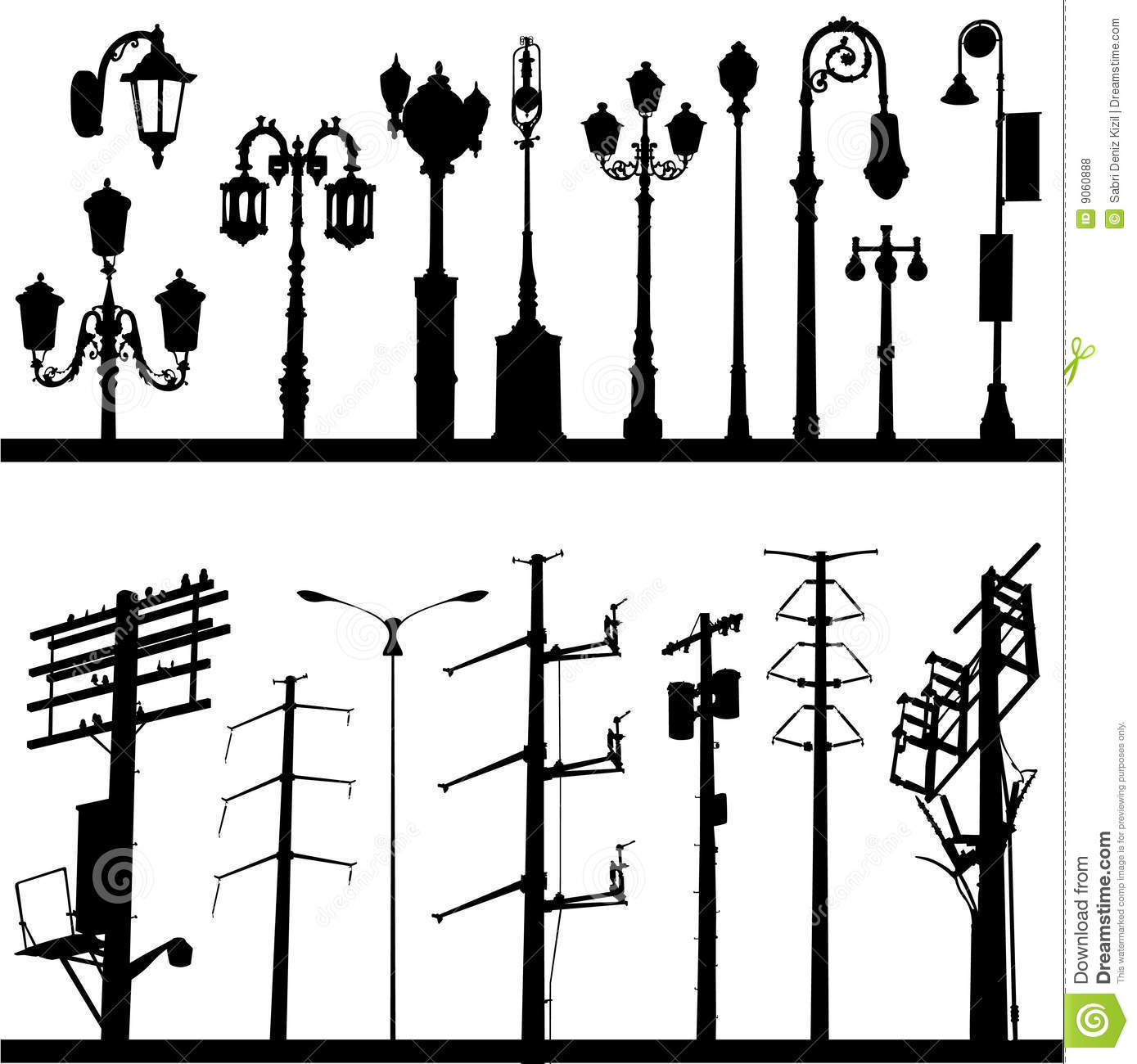 Power Line And Lamppost Vector Royalty Free Stock Photos