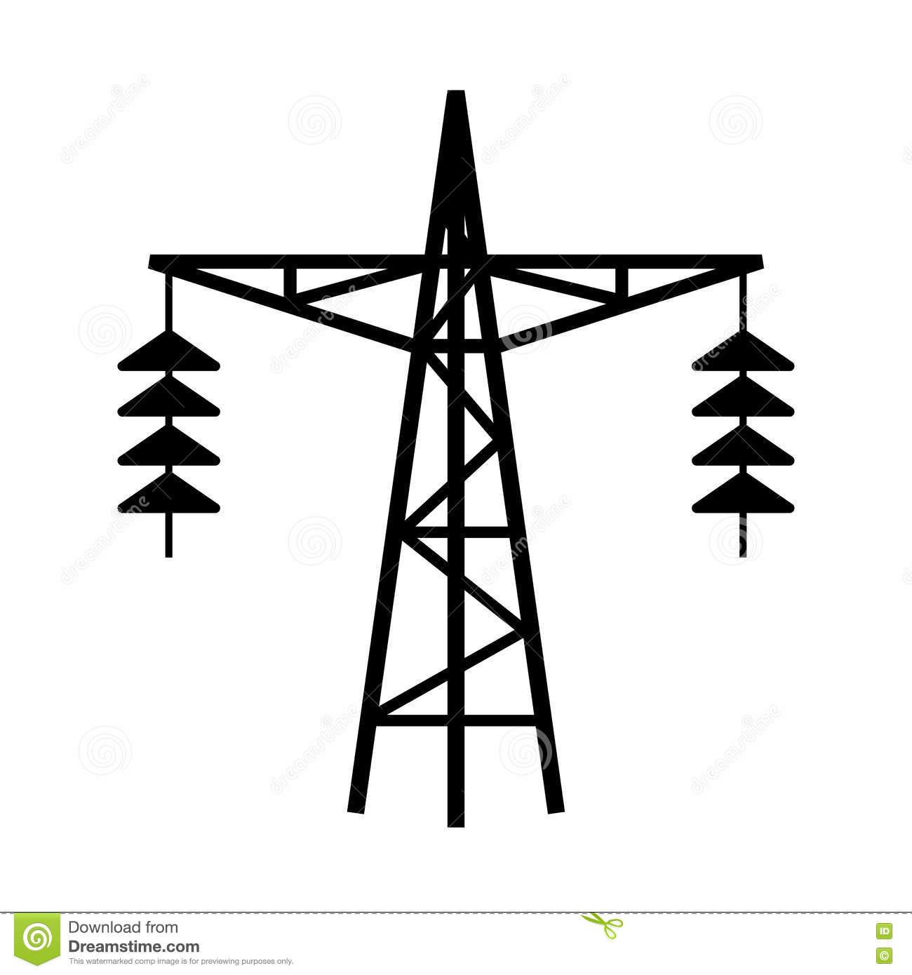 Power Line Tower Vector Icon Stock Vector