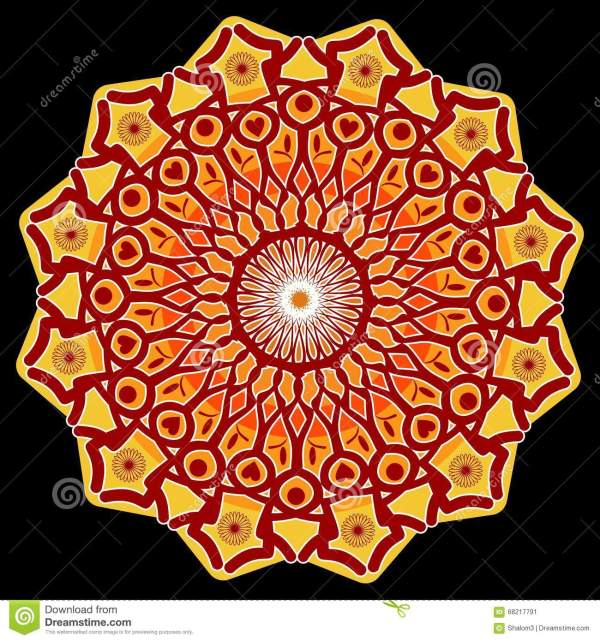 Power Mandala Star Shape In Red Orange And Yellow On