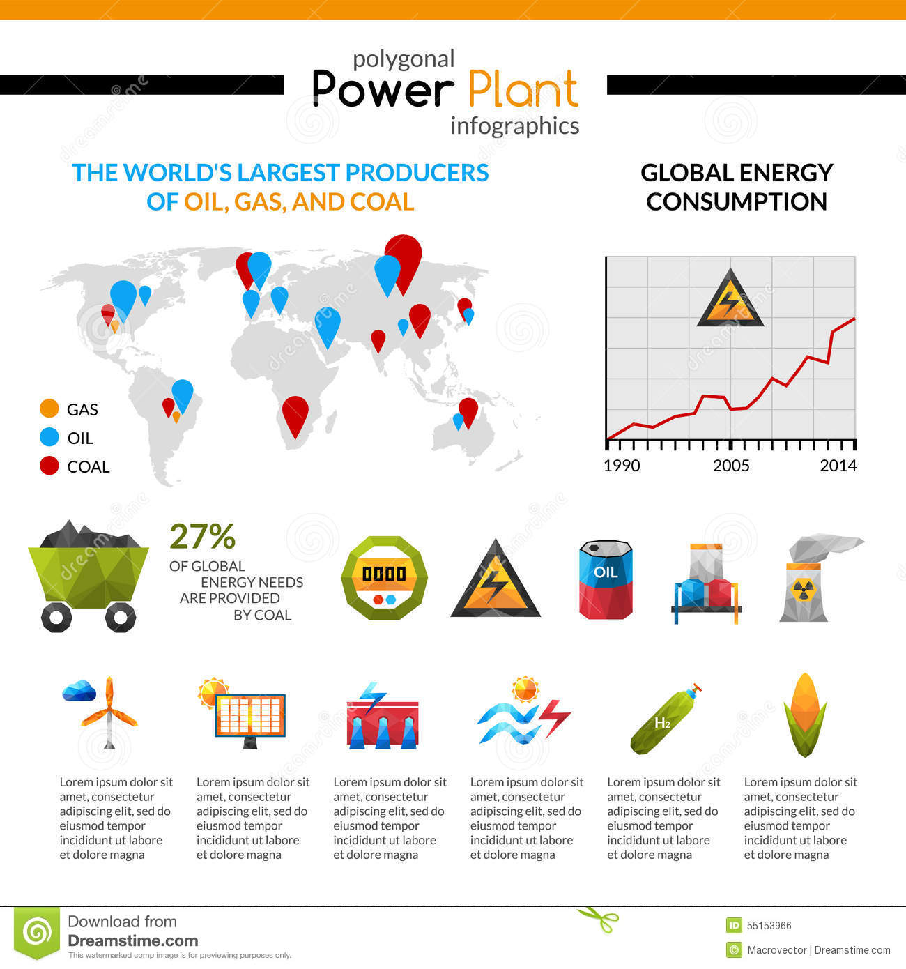 Power Plant And Mineral Extraction Infographic Stock