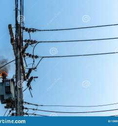 power pylon overload or electric short circuit at transformer on poles and fire or flame with [ 1600 x 1156 Pixel ]