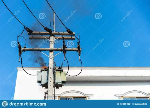 small resolution of power pylon overload or electric short circuit at transformer on poles and fire or flame with